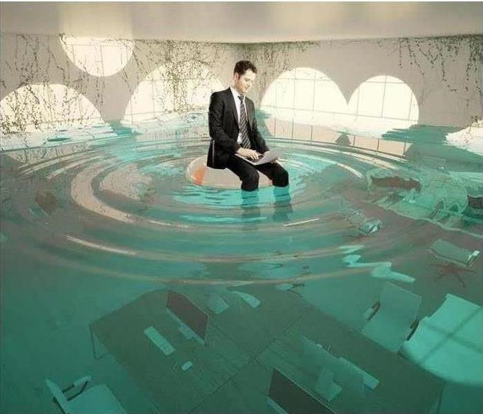 Commercial office space drowning from water
